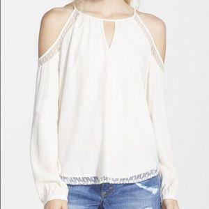 ASTR the Label Cold Shoulder Silk Blend Top